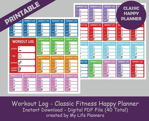 workout log classic fitness happy planner stickers printable etsy