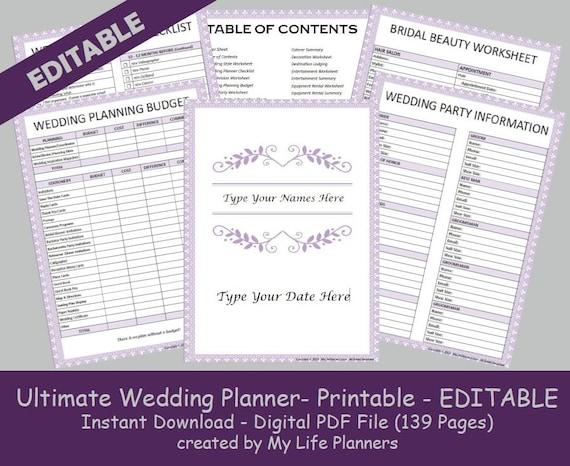 Ultimate Wedding Planner Printable Purple Wedding Organizer Etsy