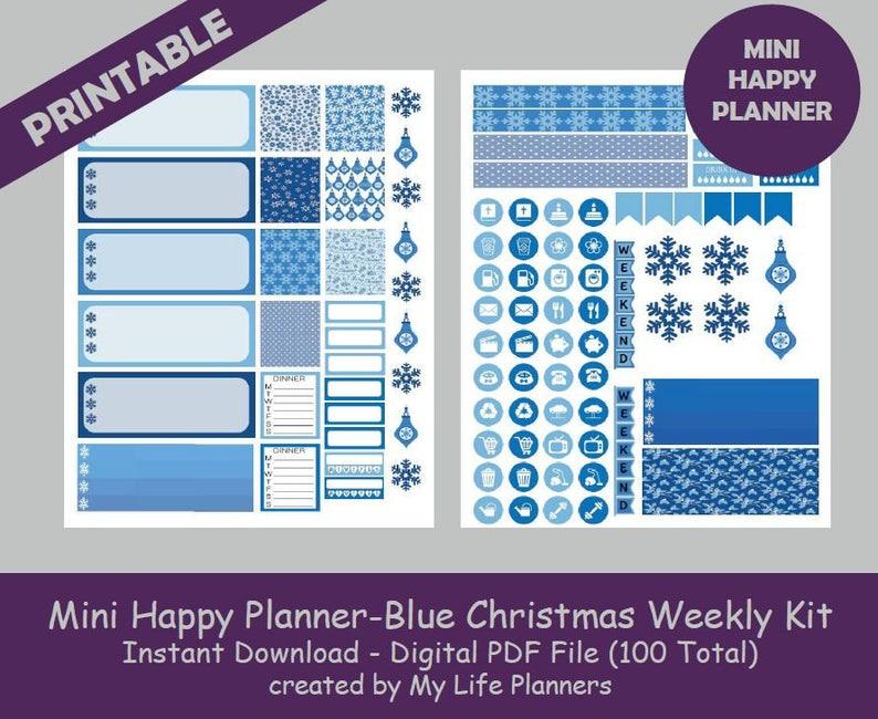 Blue Christmas, MINI Happy Planner Printable Stickers, Weekly Kit, Planner  Kit, Planner Stickers, MINI Happy Planner, Instant PDF Download