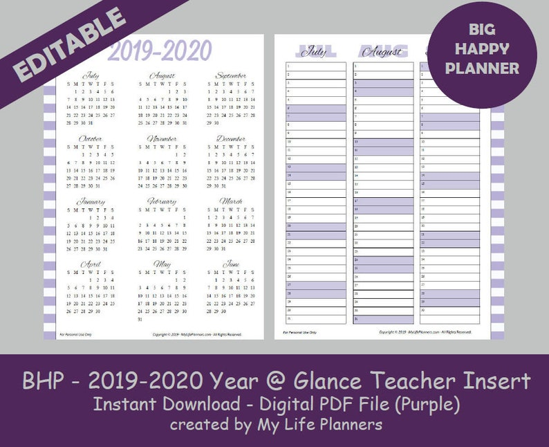 BIG Happy Planner 2019-2020 Dated Year at a Glance Teacher, Student,  Calendar, Purple, Planner Insert, Printable, Editable PDF Download