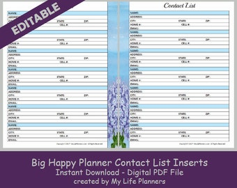BIG Happy Planner Contact List Inserts, Editable Printable Happy Planner Inserts, MAMBI Big Happy Planner Inserts, PDF Download