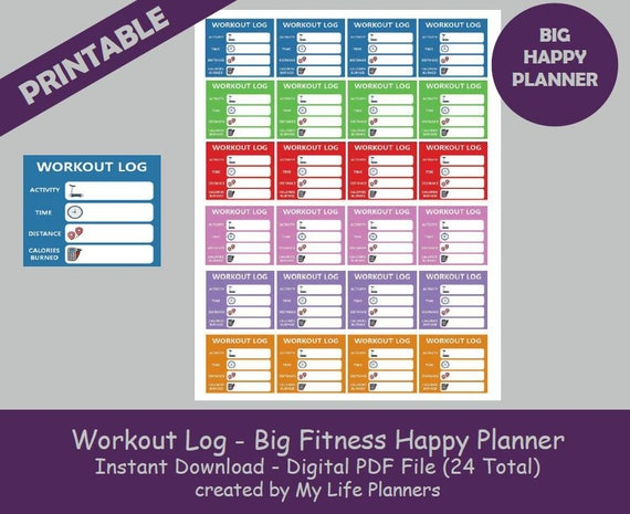 workout log big fitness happy planner stickers printable etsy