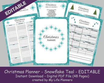 Christmas Planner, Holiday Planner, Happy Planner Insert, Snowflake Teal, Letter size 8.5 x 11, Fillable, Printable, Instant Download PDF