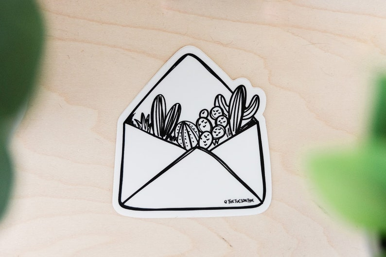 Cactus Envelope Vinyl Sticker image 0