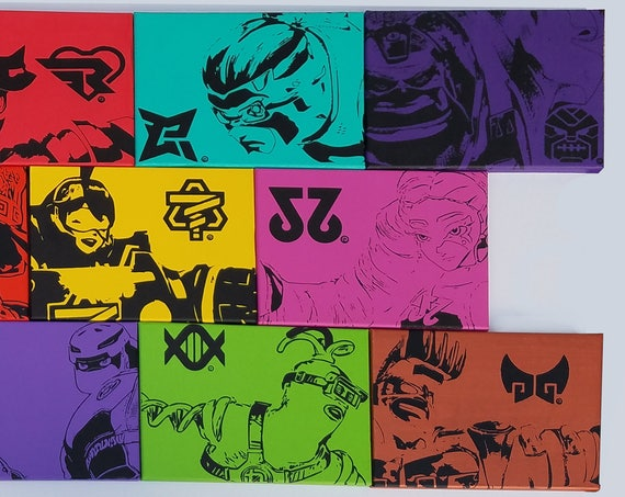 ARMS Canvas Collection - Min Min, Twintelle, Kid Cobra, Master Mummy and Helix - 2 Hand Painted Acrylic Paint on Stretched Canvas