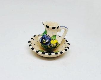 Miniature Pitcher and Bowl Set / Dollhouse Pitcher / Miniature Pitcher and Basin / Dry Sink / Washbowl and Pitcher