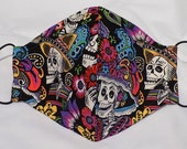 Fabric Face Mask Handmade Washable Nose Wire Filter Pocket Adjustable Ear Loops All Cotton In Stock FREE SHIPPING Day of the Dead