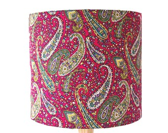 Pink Paisley Indian Fabric Lampshade Handmade India Print Drum Lamp shade Diameter 20cm
