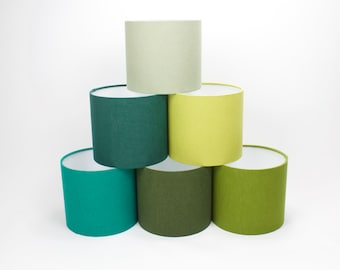 Linen Green Lampshades, Stonewashed Linen Lampshades, Drum Lamp Shades in 20cm 30cm 40cm Diameter, Available in 7 Colours