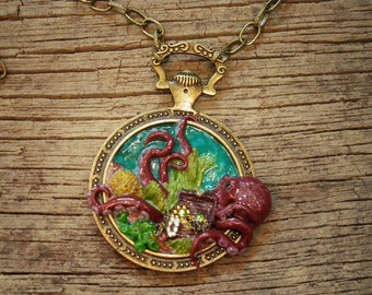 Steampunk Octopus Pocket Watch Necklace