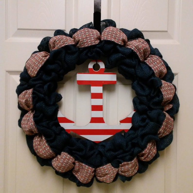 Anchor Welcome Wreath Unfinished Anchor Door Hanger Welcome Sign Nautical Door Hanger Anchor Decor Anchor Wreath Boat Door Hanger