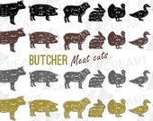 Butcher diagram clip art, cuts of meat lamb, beef, pork, chicken, duck, turkey, rabbit chart, butcher shop sign print, Kitchen wall decor