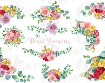 30e4b5bb3 Floral eucalyptus watercolor wedding bouquets, floral bouquets clip art,  carnation, lotus, eucalyptus, wedding decoration clip art, invite