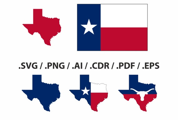 Texas State Map Flag And Symbols Clipart Collection Ai Etsy