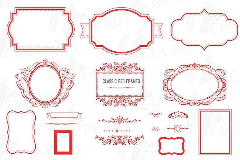Classic red frames, printable Christmas borders clip art pack, digital  basic labels, digital stamp, vector illustrator, png, svg, jpg files