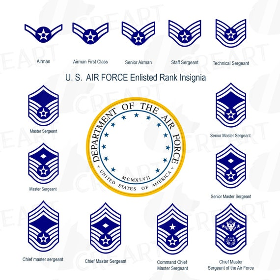 Us Air Force Enlisted Rank Insignia Collection Us Air Force Etsy