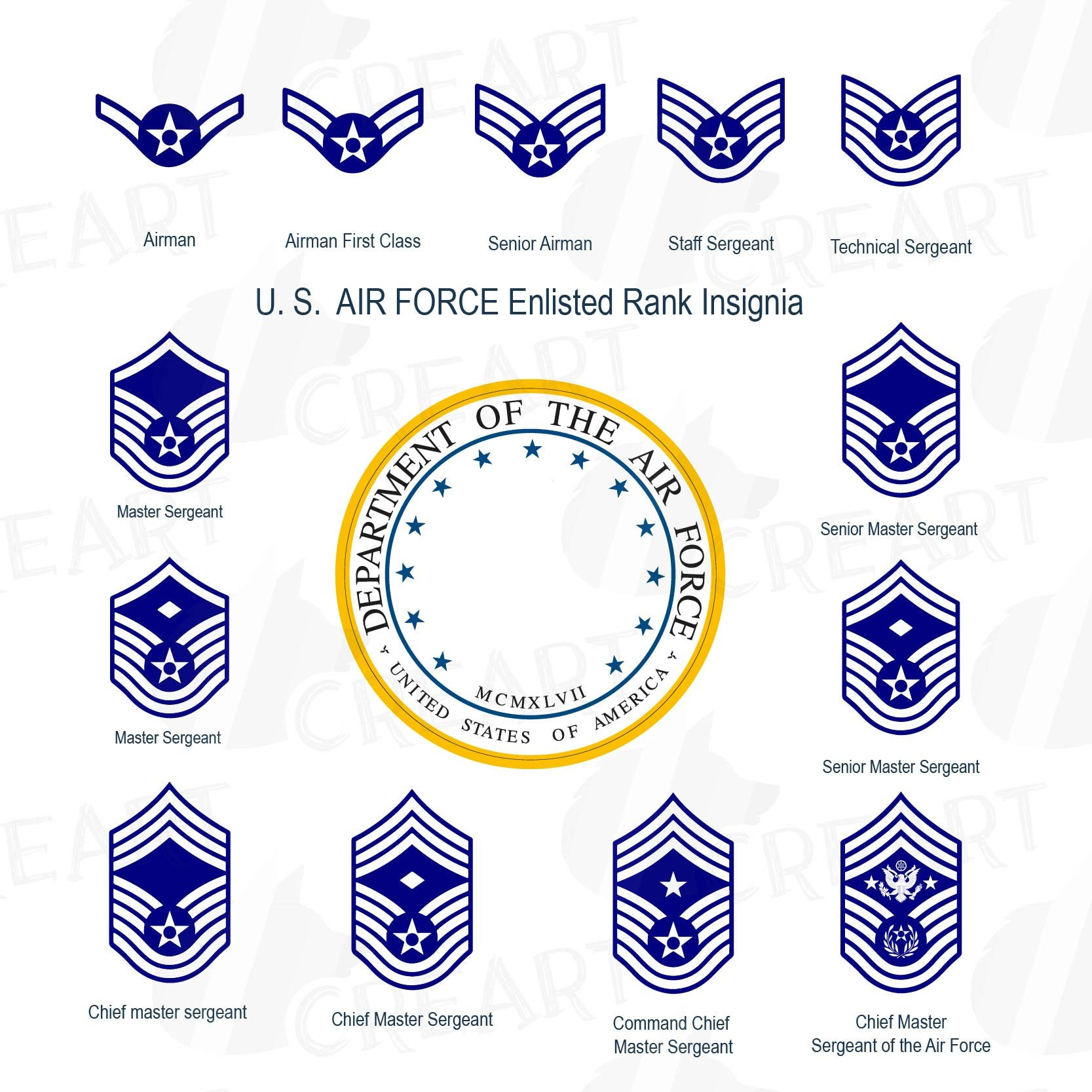 US Air Force enlisted rank insignia collection US Air Force
