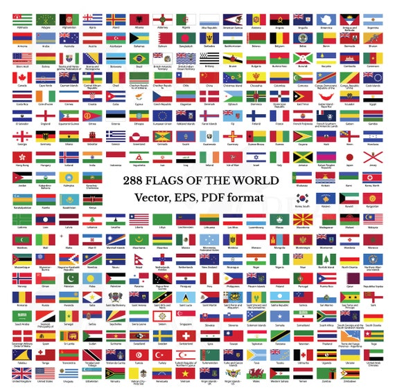 photo about Flags of the World Printable Pdf called Flags variety of the world-wide clip artwork, 288 flags of nations and unions with names, EPS, Illustrator and PDF documents, nationwide flags,