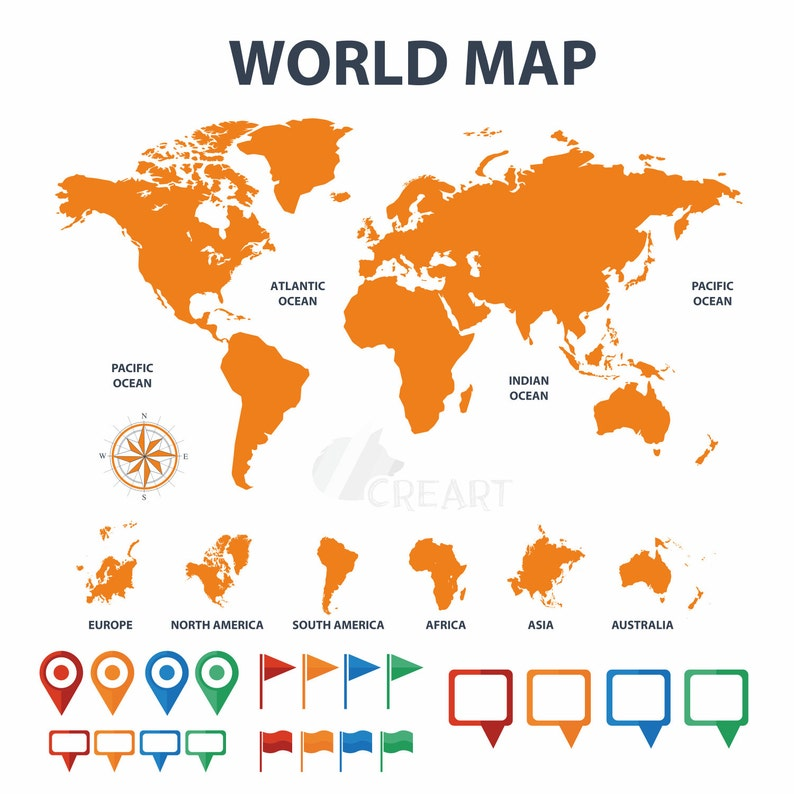 Travelers World Map With Pins Flags And Textbox Clip Art Etsy