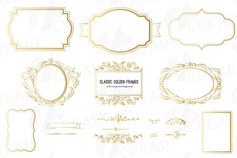 Digital classic golden frames, printable borders clip art pack, digital  basic labels, digital stamp, vector illustrator, png, svg, jpg files
