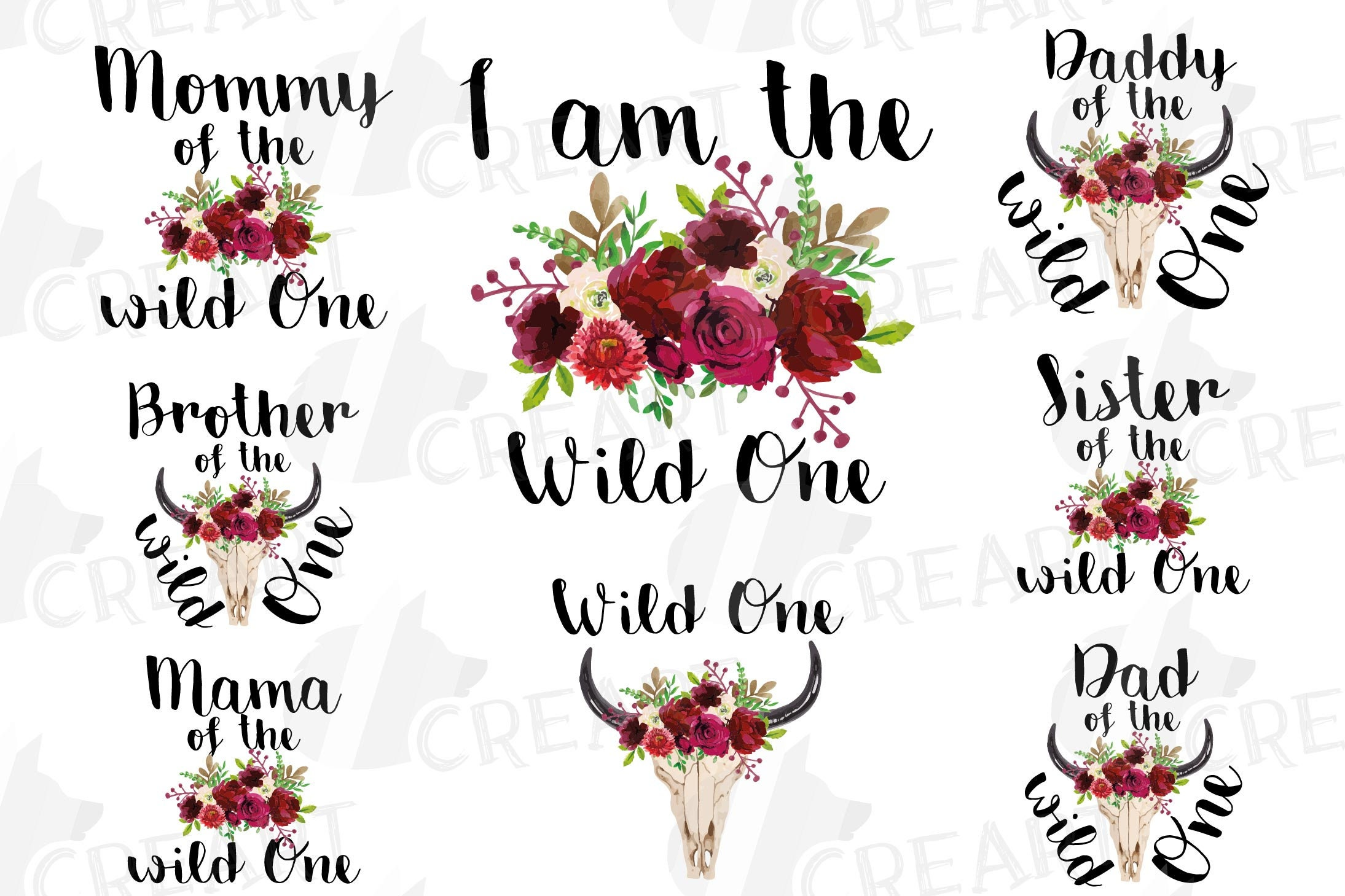 Wild One Shirt Set png, family birthday, mama of the wild one and wild one  girl, matching shirt graphics, wild one Birthday illustrations