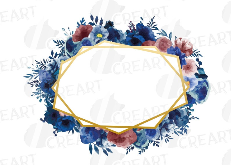 Watercolor elegant navy blue and blush floral borders flowers wedding decor png /& vectors elegant wedding pink and blue floral frames