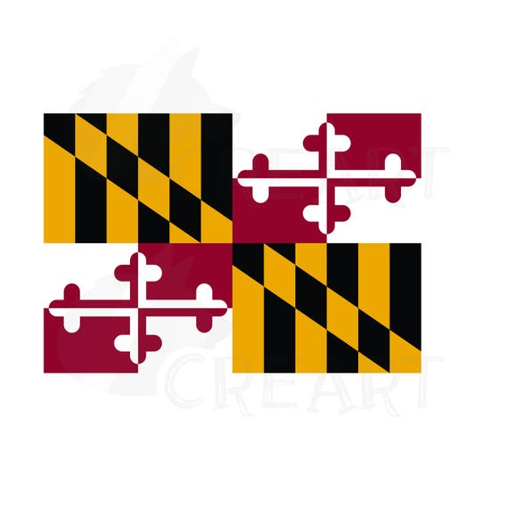 Maryland State Map Clipart Collection Flag Seal Symbols Etsy