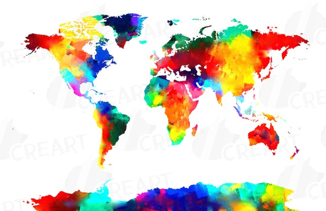 Watercolor world map poster digital art print eps png jpg etsy image 0 gumiabroncs Images