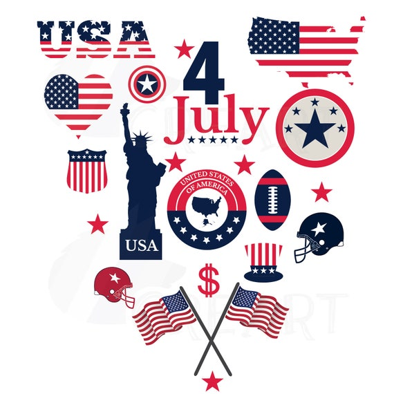 Usa Symbols Clipart Collection For National Holydays And 4th Etsy