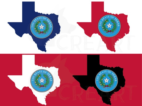 Texas State Seal And Map Flag Clip Art Collection AI Eps