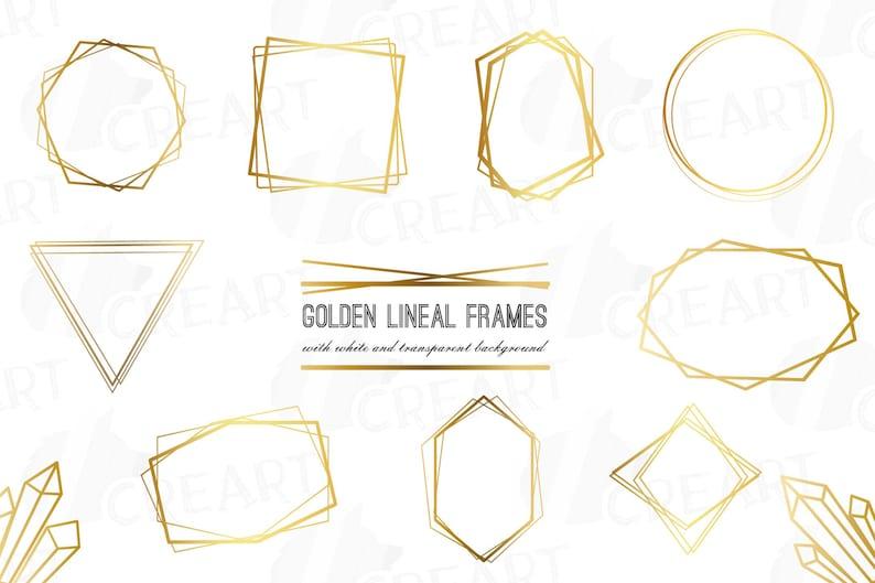 Elegant wedding geometric golden frames, lineal frames clip art, wedding  invitation, polygonal frame, crystal frame, vector files included