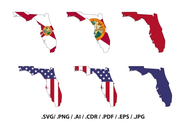 Florida State Map With Flag Outline Florida Flag State Etsy