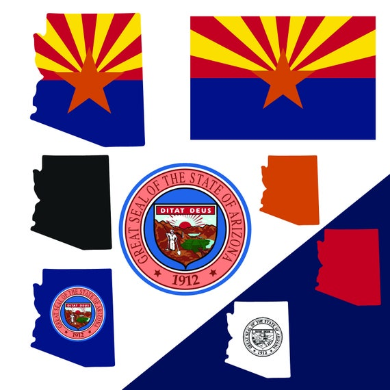 Arizona State Map Flag And Symbols Clipart Collection Ai Etsy