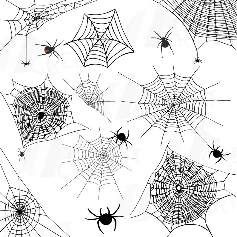 Spiders And Spider Webs Silhouettes Clip Art Pack Halloween Etsy