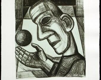 "Art from the GDR. ""Das Leben ist Traum"", 1989. Lithograph by Nuria QUEVEDO"