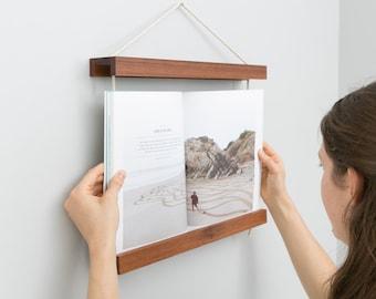 Book Frame, Dark Wood, Reclaimed Wood, Wall Art, Wall Hanging, Recipe Book Holder, Shelf, Book, Book Holder, Photo Album, Frame, Hardwood