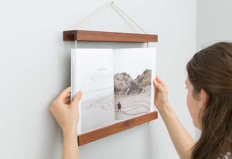 Book Frame Dark Wood Reclaimed Wood Wall Art Wall Hanging image 0