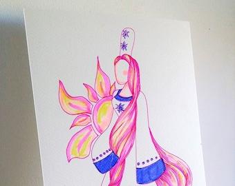 Peinture bretonne Heol, Princesse du Soleil