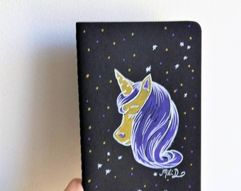 Carnet noir Licorne étoilée