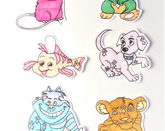 Lot de 6 stickers, Animaux,