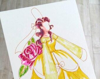 Watercolor Princess, bigoudene princess, pink flower