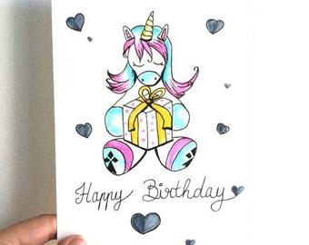 Carte anniversaire licorne