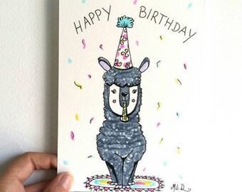 Carte anniversaire Lama