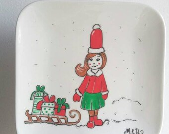 Decorative plate, hand painted, Breton Christmas