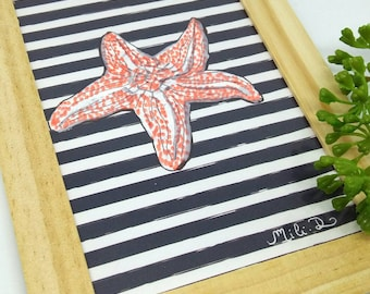 Etoile wood frame, marine frame, marine decoration, starfish, home gift, wall decoration.