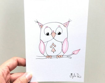 Fancy Stationery, Owl Drawing, Watercolor Painted Double Card,