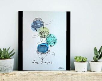 """Aquarelle  """"les frangins"""""""