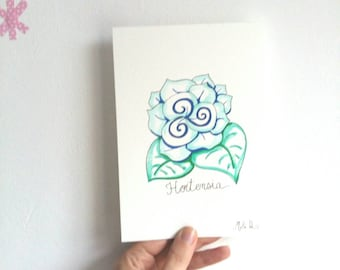 Card, postcard, Umbrella, watercolor painting, stationery, brittany, wall art, wall decoration, gift, birthday card, blue,