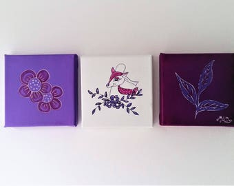 "Lot de 3 tableaux ""Biche"""