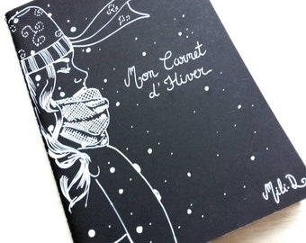 My Winter Book, moleskine notebook, black and white,
